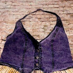 Stretchy Purple Denim Halter Top